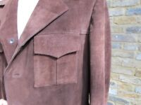 Leather Jacket, gents, suede leather, brown, size 52
