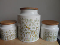 HORNSEA POTTERY FLEUR BISCUITS JAR + 2 SMALLER STORAGE JARS/CANNISTERS