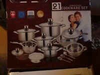 Brand new set of Mafy cooking pots and saucepans 21 piece