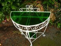 Semi Circular Side Table or Plant Stand in Green Glass and white Wrought Iron