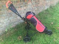 Junior trolley and bag, red, ok condition