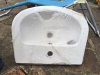 Brand new, semi recessed bathroom basin in white