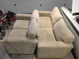 Sofa 3 seater + 2 seater, beige/ cream fabric, free delivery