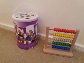 wooden blocks and abacus