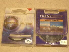 Two 55mm screw in lens filters - Hoya CPL + Kenko UV.
