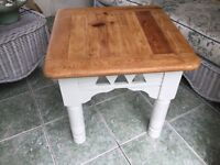 Vintage square table with stripped pine top and base painted in cream