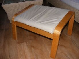 Ikea Poang Foot Stool, Birch Frame, Beige Leather or Leather Look Upholstery