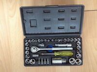 Socket set tool box with ratchet wrench