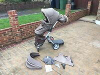 Stokke Xplory V2 Brown with bag, winter kit, buggy board, car seat adaptors. Good condition