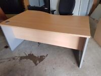 Office desk in beech with light grey panels