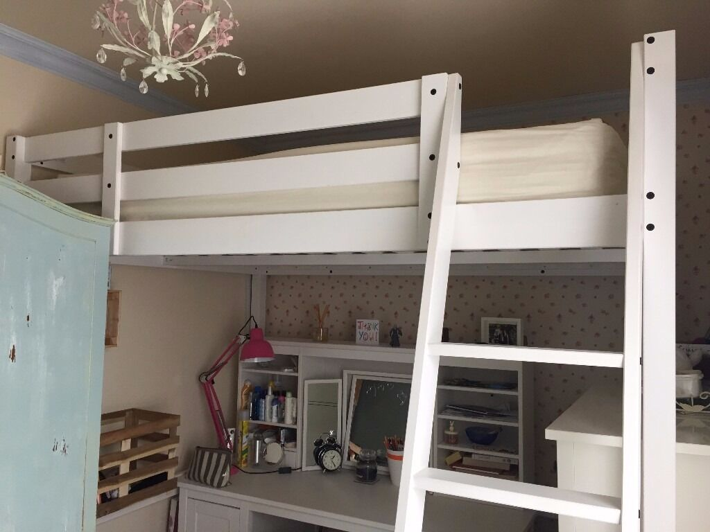 white double loft bed from ikea stora includes all fixings and instructions less than a year. Black Bedroom Furniture Sets. Home Design Ideas