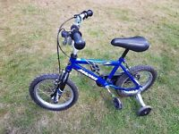 For Sale - Boys Magna Dirt Jumper Bike (14inch wheels) with stabilisers (£20).
