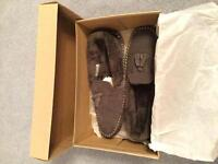 Brand new clarks grey suede men's slippers size 9.
