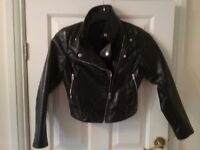 Lovely black with silver zips bikers jacket H & M pvc jacket size around size 6