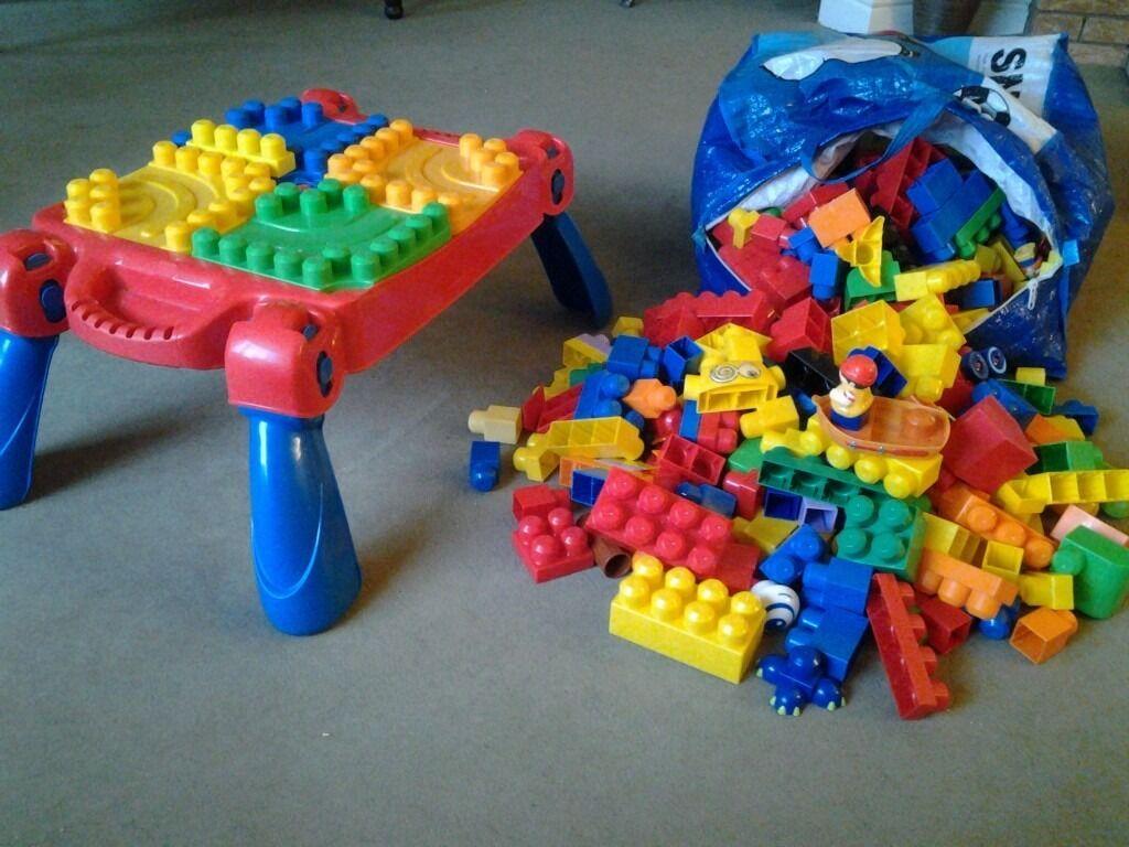 Megablocks table and large bag of blocks