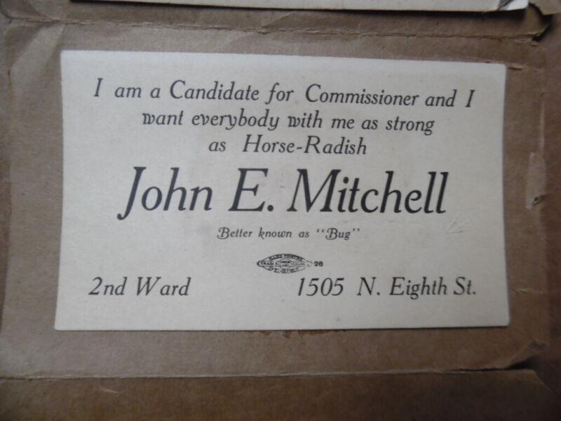 1911 Sangamon County Springfield Illinois Political Candidate Campaign Card Lot