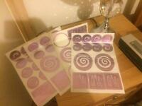 Purple metallic stickers