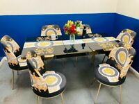 😍😍NEW INTRODUCTION SALE⭐⭐ON VERSACE DESIGN EXTENDABLE DINING TABLE AND CHAIRS