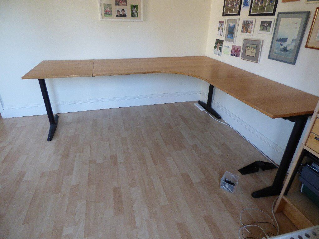Ikea Effektiv T L Shaped Desk Beech Effect With Extensions For Both Ends