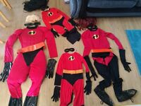 4 x Disney Incredibles Fancy Dress Costume - Full set of 4 - Perfect Condition - Halloween Outfits