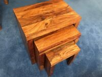 Oak Effect Nest of Tables x 3 - Solid Wood ***Excellent Condition***