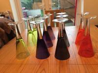 Coloured glass wine glasses