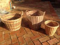 Set of 3 wicker log baskets