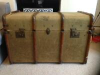 Vintage wooden and canvas trunk with original insert