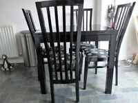 Italian style, extending dining table and 4 dining chairs, black, 90cm square, v good condition