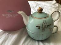 Bombay Duck Miss Darcy Tea For One Set in Mint/ Gold