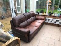 Leather Sofa Brown/Tan 2 seater + 3 seater