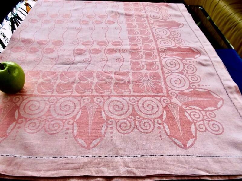 Antique German Pink Linen Hemstitched Tablecloth Damask Linden Leaves Blossom