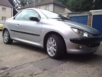 Silver Peugeot 206cc hard top convertible FOR SALE