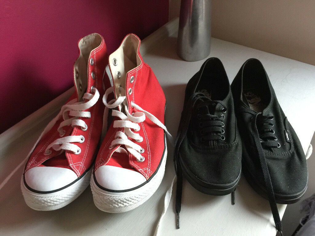 Red Converse and Ladies Vans Lo Pro SIZE 7