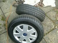 TWO ,FORD KA, 13 INCH,4 STUD,4 X 108 PCD,STEEL WHEELS,WITH MATCHING 175/70/13 TYRES,+ TRIMS