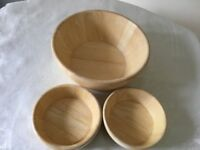 SET 3 LIGHT COLOUR SOLID RUBBER WOOD FOOD SERVING BOWLS 1 LARGE 2 SMALL