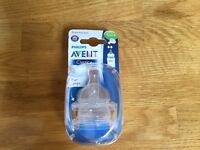 Philips Avent Classic 1m+ slow flow teats ( 2 pack) Brand New