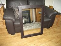 Wall mirror (dark brown faux leather)