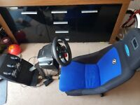 Logitech G29 steering wheel Playstation 4 and Professional gaming chair Corbeau