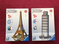 Ravesburger 3D puzzles; La Tour Eiffel and Torre pendente