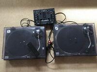 Pair of Technics 1210 MK2 decks for sale. Slighly cracked dust covers.