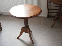 2 Lovelace Round Tripod Tables in Redwood Pine