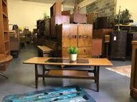 Retro coffee table with glass top. Mid century vintage danish nest of tv stand