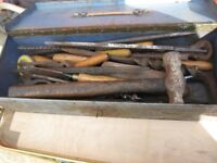 OLD fashioned WOOD WORKING TOOLS IN METAL BOX