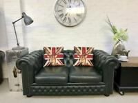 Lincoln green 2 seater Chesterfield sofa. Can deliver.