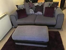 SCS Three seater Purple and Grey Sofa and Footstool