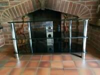 Black Glass TV Stand (Like New)