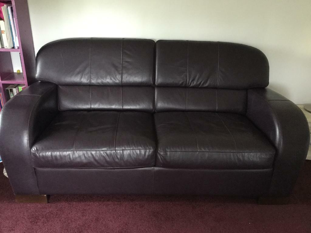 Blaze 3 Seater Deluxe Leather Sofa Bed Aubergine