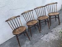 Dining chairs set of 4 vintage penny seats spindle back