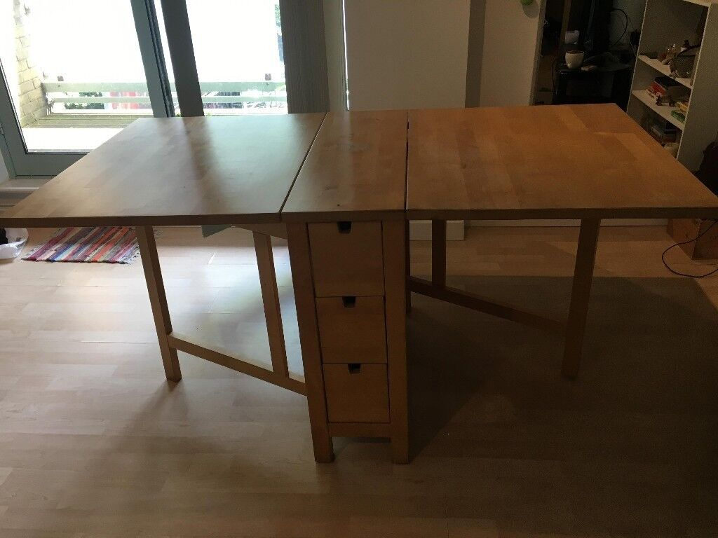 Used Ikea Norden Wooden Folding Dining Tabledesk In Clapham
